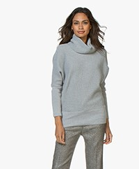 Sibin/Linnebjerg Tut Merino Sweater with Draped Turtleneck - Grey Melange