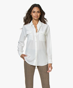 Equipment Signature Washed-silk Blouse - Nature White