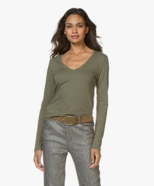 Majestic Filatures V-neck T-shirt with Cashmere - Army