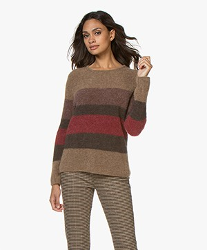 no man's land Striped Mohair Blend Sweater - Carmine