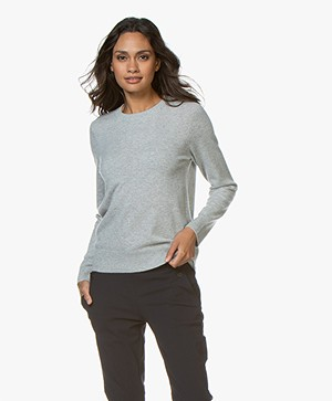 Repeat Luxury Round Neck Cashmere Pullover - Light Grey