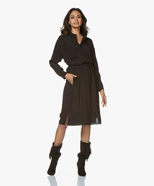 Repeat Viscose Crepe Midi Dress - Black