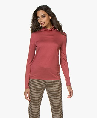 Filippa K Tencel Polo Neck Top - Raspberry