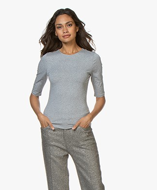 Filippa K Cotton Stretch Elbow Sleeve T-shirt - Grey Melange