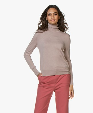 Filippa K Silk Mix Roller Neck Trui - Powder