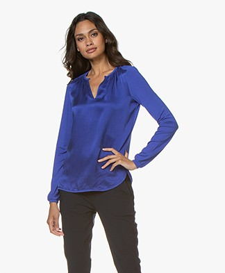 Josephine & Co Gill Silk Front Blouse - Royal Blue