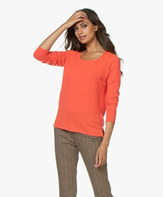 Majestic Filatures Cashmere R-neck Sweater - Orange fluo