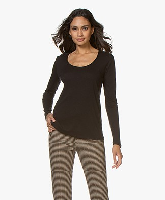 Majestic Filatures Carmen Cashmere Blend Long Sleeve - Black