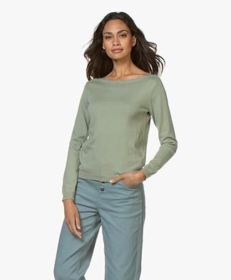 Marie Sixtine Nawel Cotton Blend Boat Neck Sweater - Jade