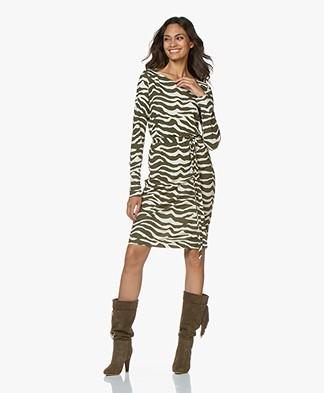 no man's land Crepe Jersey Zebra Printed Dress - Moss