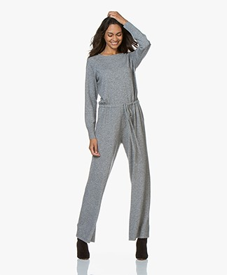 Repeat Knitted Jumpsuit with Cashmere - Light Grey