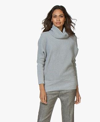 Sibin/Linnebjerg Tut Merino Sweater with Draped Turtleneck - Grey Melange