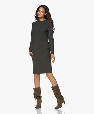 Woman by Earn Linde Bonded Tech Jersey Jurk - Donkergrijs