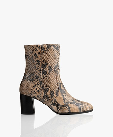 indi & cold Leather Snake Print Ankle Boots - Beige/Black