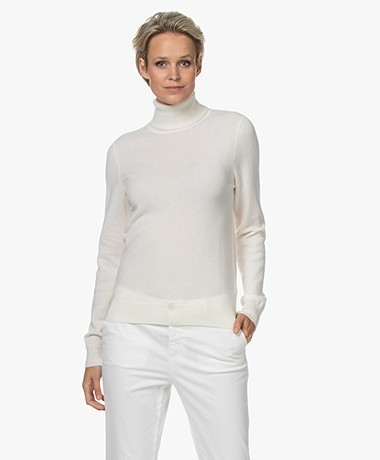 Repeat Organic Cashmere Turtleneck Sweater - Cream