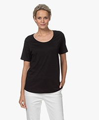 Repeat Jersey Lyocell Mix T-shirt - Zwart