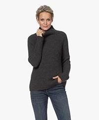 Drykorn Arwen Rib Knit Turtleneck Sweater - Dark Grey Melange
