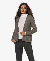 indi & cold Rib Knitted Button-through Cardigan - Khaki