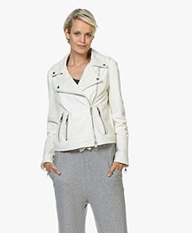 BOSS Jadid Leather Biker Jacket - Open White
