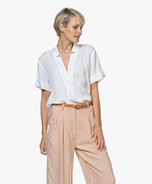 Repeat Tencel Short Sleeve Blouse - White