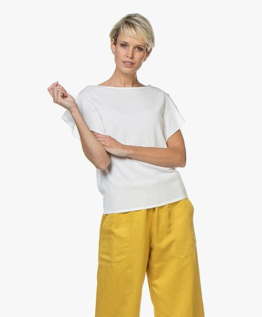 LaSalle Crepe Jersey T-Shirt with Butterly Sleeves - White