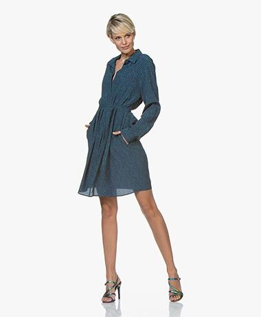 Repeat Viscose Micro Dots Shirt Dress - Dark Blue