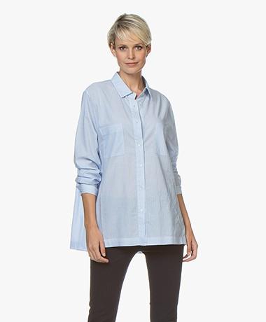 Repeat Oversized Tencel Blend Striped Blouse - Light Blue