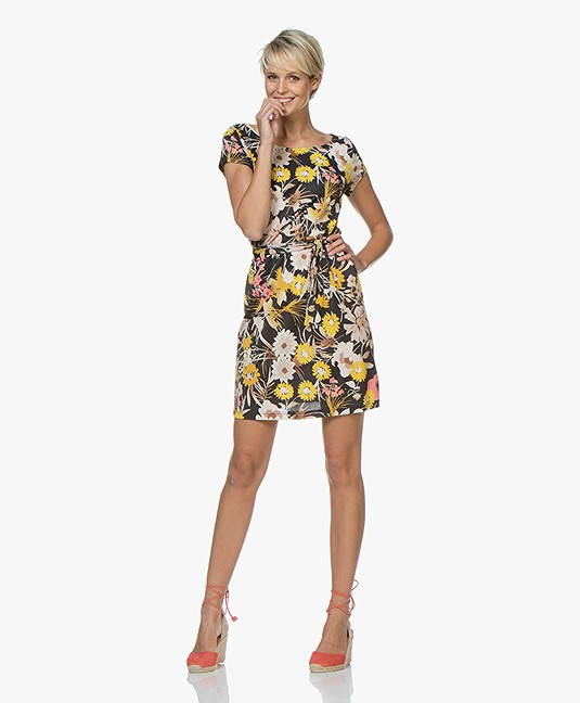 no man's land Viscose Jersey Print Jurk - Buttercup