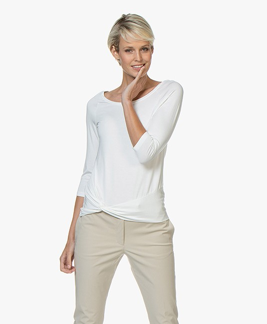 no man's land T-shirt with Knot Detail - Ivory