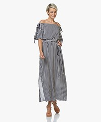 HUGO Kabowy Viscose Off-shoulder Dress - Navy/White