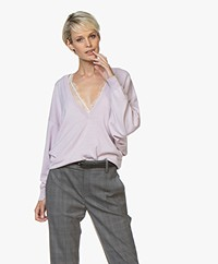IRO Remote Silk Blend Sweater with Deep V-neck - Light Lavender