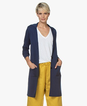 Belluna Cover Half-long Blazer Cardigan - Jeans Blue