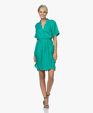 Repeat Tencel Tunic Dress with Short Sleeves - Emerald