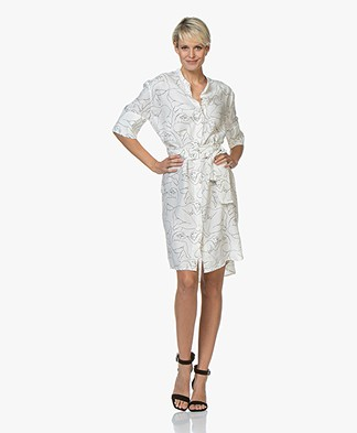 By Malene Birger Cupro Blend Dress with Print - Soft White
