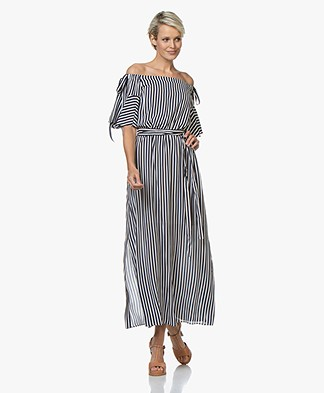 HUGO Kabowy Viscose Off-shoulder Jurk - Navy/Wit