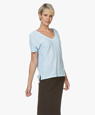 Josephine & Co Reiza Travel Jersey V-Neck T-Shirt - Light Blue