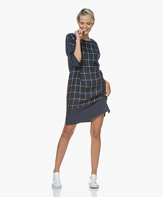 LaSalle Checkered Linen Dress - Navy