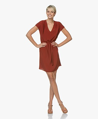 Marie Sixtine Bertilla Dress with Self-tie Belt - Rusty