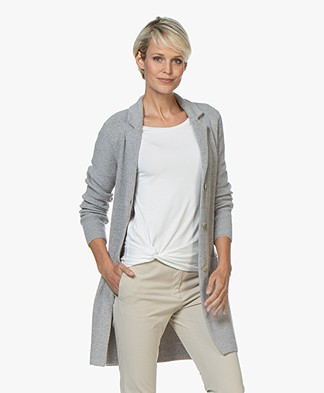 Belluna Wonderland Mid-length Blazer Cardigan - Grey Melange