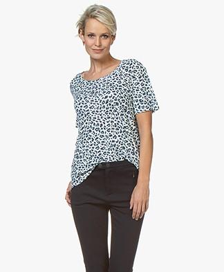 Repeat Linen Blend Leopard Print T-shirt - Dark Blue