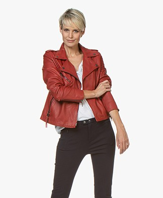 BOSS Jadory Leren Bikerjack - Bright Red