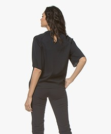Filippa K Silk Blouse Top - Navy