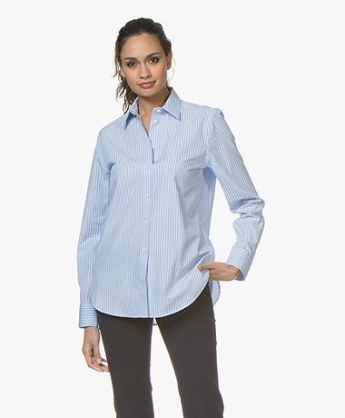 Filippa K Jane Striped Poplin Shirt - Blue/Light Blue
