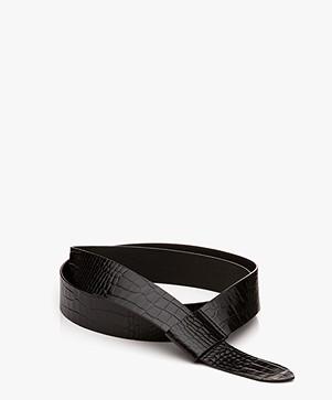 Filippa K Wrap Leren Riem - Zwart Croco