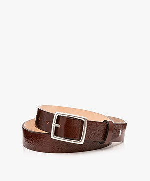 Rag & Bone Boyfriend Crackle Leather Belt - Chestnut Brown