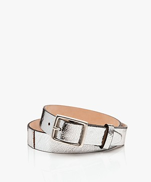Rag & Bone Boyfriend Crackle Leather Belt - Silver