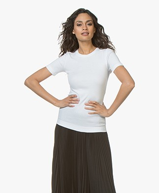 By Malene Birger Clotilde Rib Jersey T-shirt - Pure White