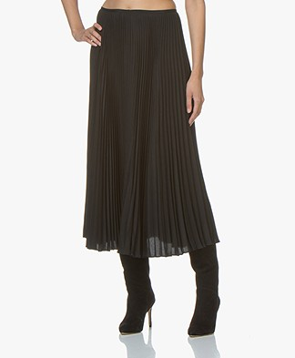 Joseph Abbot Pleated Silk Midi Skirt - Black