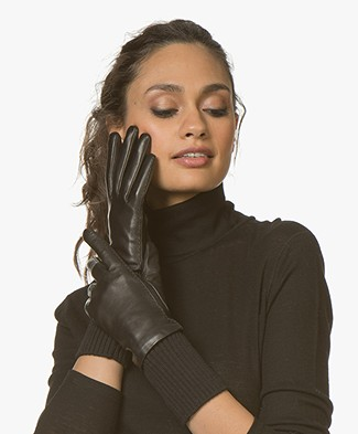Filippa K Wool Rib Leather Gloves - Black