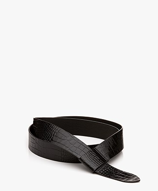 Filippa K Wrap Leather Belt - Black Croco